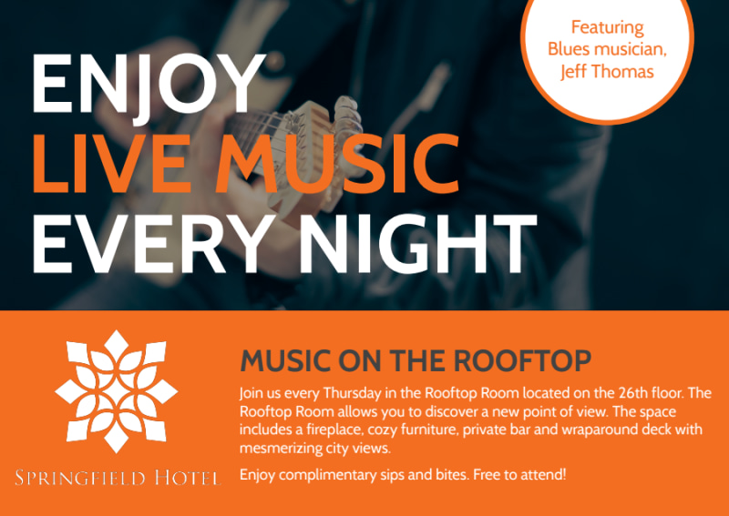 Hotel Live Music Postcard Template Preview 2