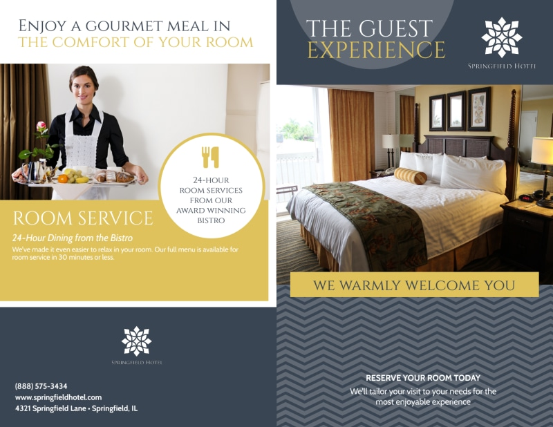 Hotel Guest Experience Bi-Fold Brochure Template Preview 2