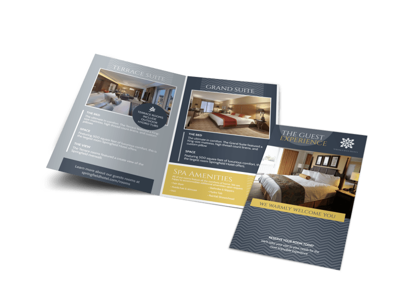 Hotel Guest Experience Bi-Fold Brochure Template Preview 1