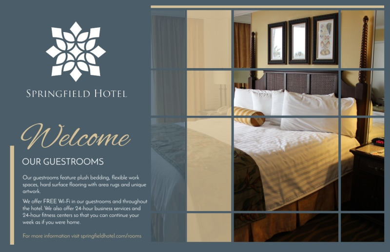 Hotel Guest Room Details Postcard Template Preview 2