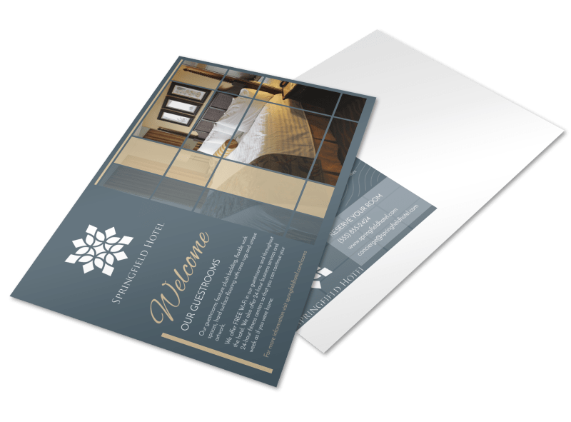 Hotel Guest Room Details Postcard Template Preview 1
