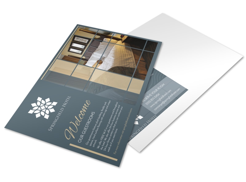 Hotel Guest Room Details Postcard Template
