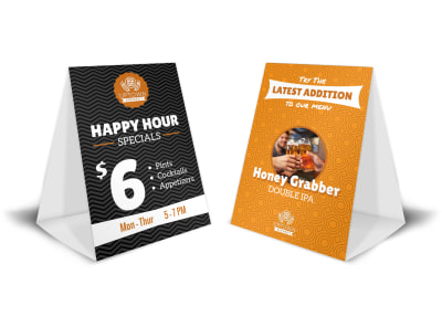 Happy Hour & Featured Beer Table Tent Template