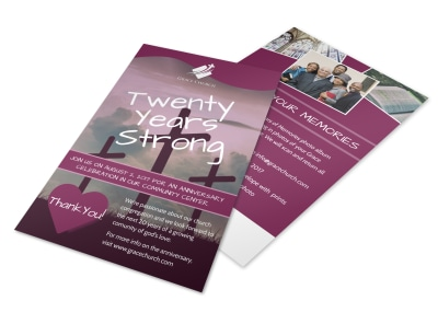 Twenty Years Strong Church Anniversary Flyer Template preview