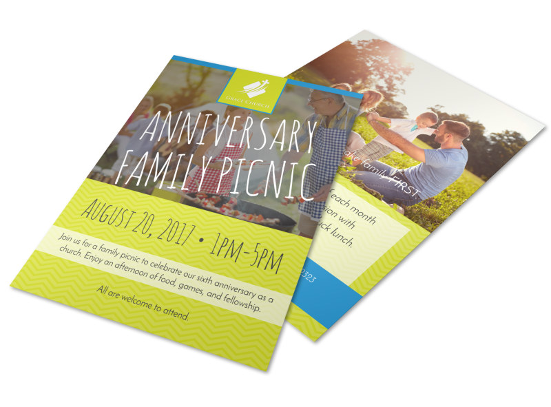 church anniversary family picnic flyer template mycreativeshop