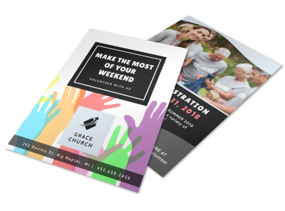 Church Weekend Volunteer Opportunities Flyer Template preview