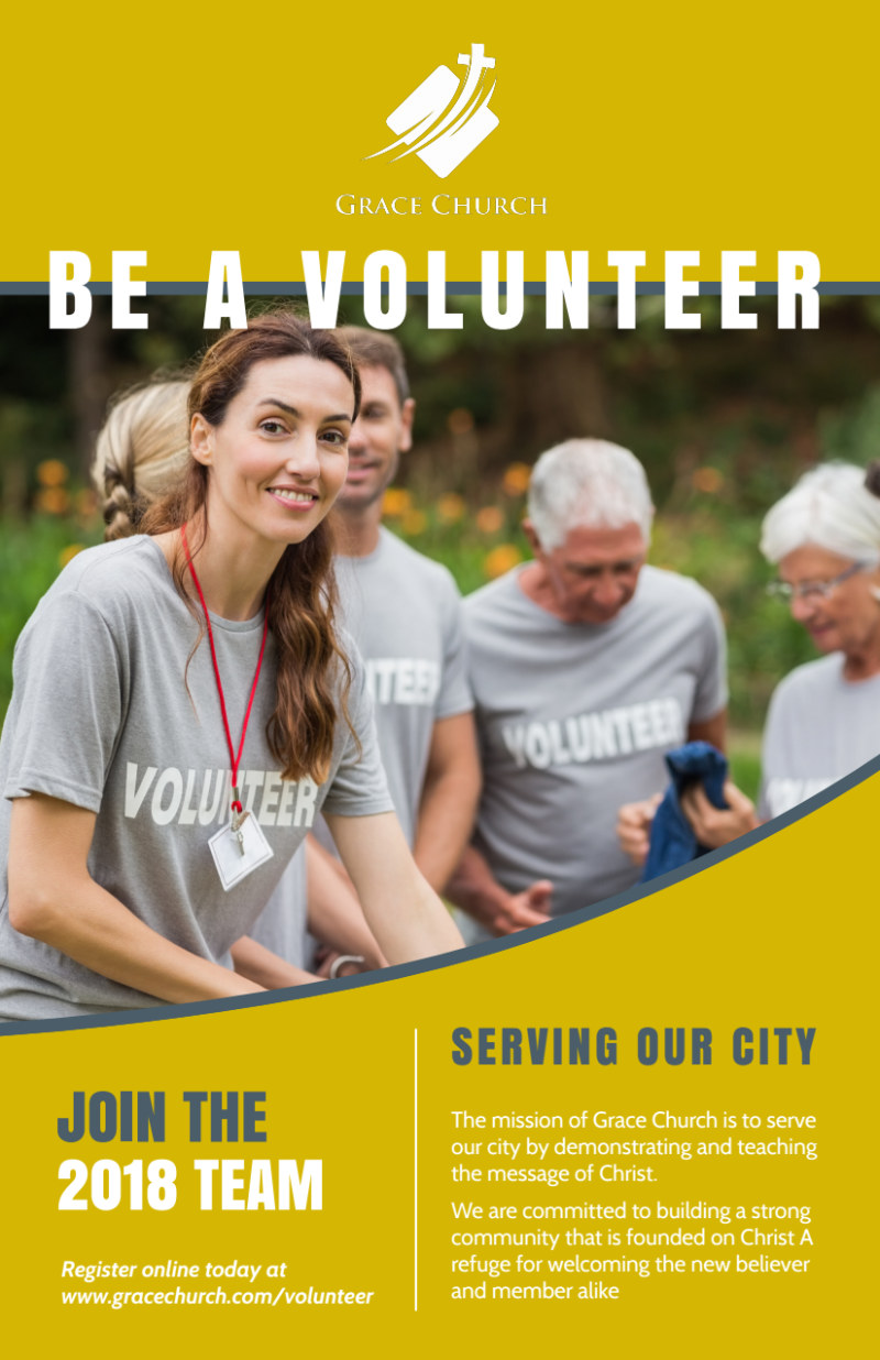 Be A Volunteer Church Flyer Template Preview 2