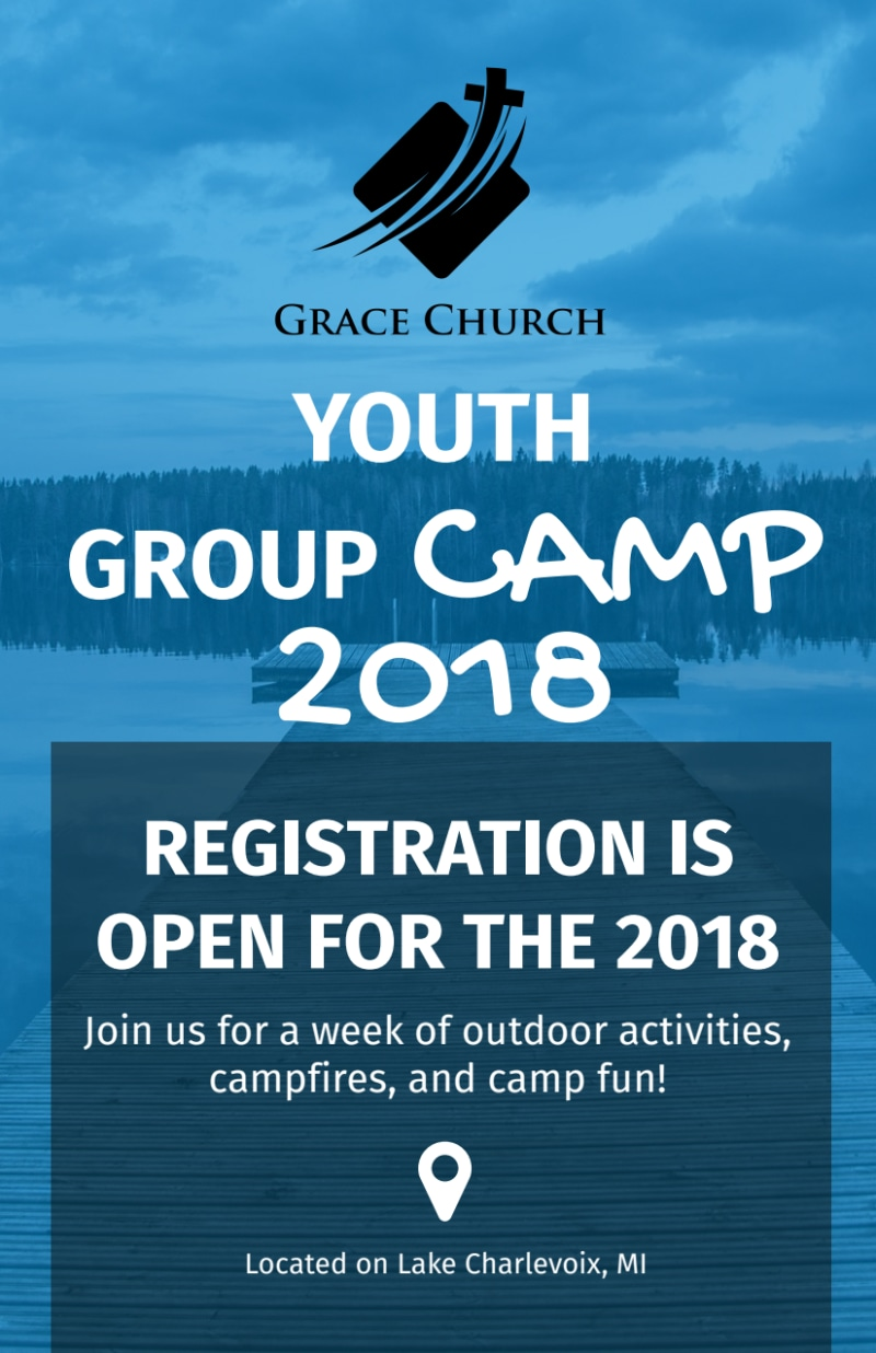 Church Youth Group Camp Flyer Template Preview 2