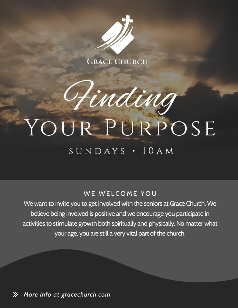 Finding Your Purpose Church Invitation Flyer Template Preview 2