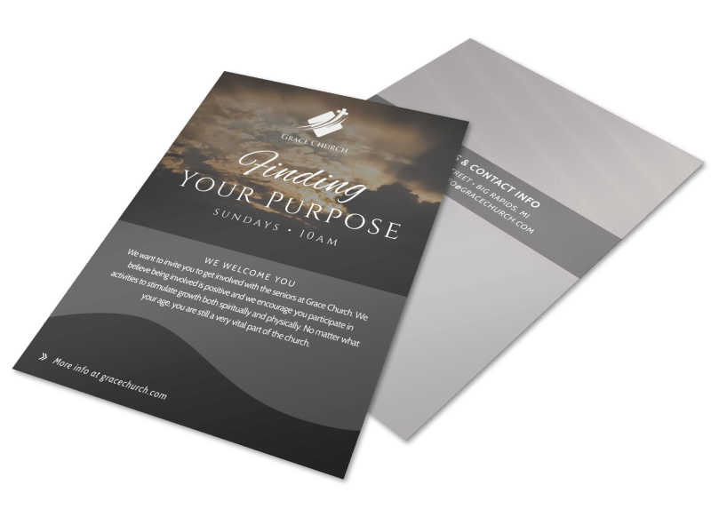 Finding Your Purpose Church Invitation Flyer Template Preview 1