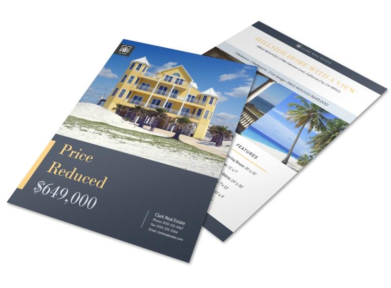 hillside real estate price reduced flyer template mycreativeshop