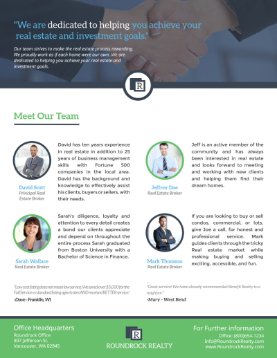 Corporate Real Estate Meet Our Team Flyer Template Preview 1