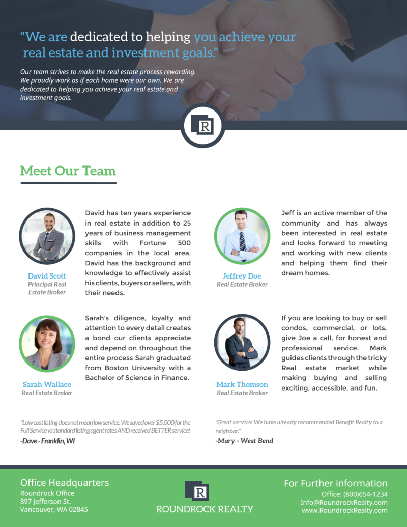 Corporate Real Estate Meet Our Team Flyer Template Preview 2