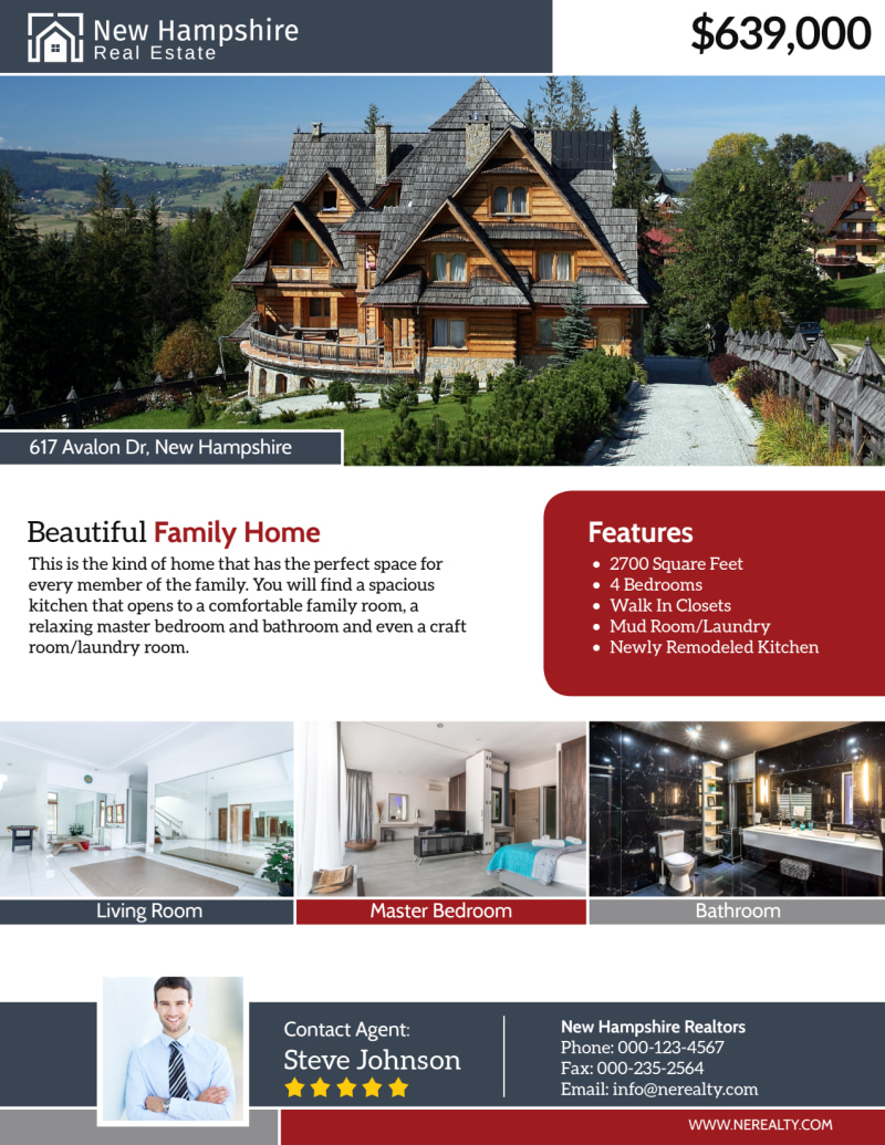 New Hampshire Real Estate Featured Property Flyer Template Preview 2