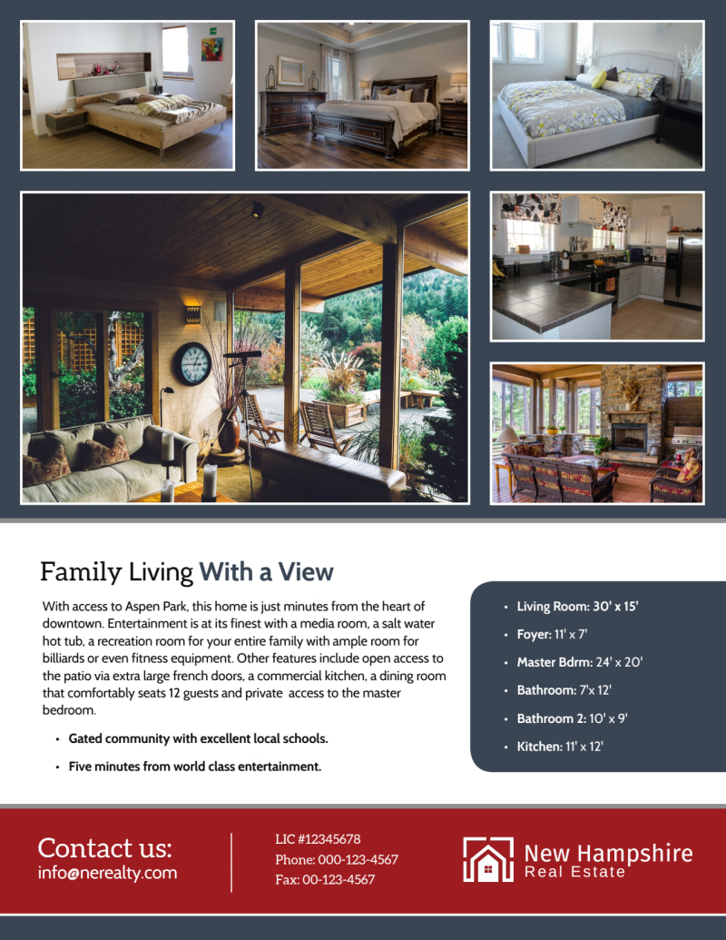 New Hampshire Real Estate Featured Property Flyer Template Preview 3