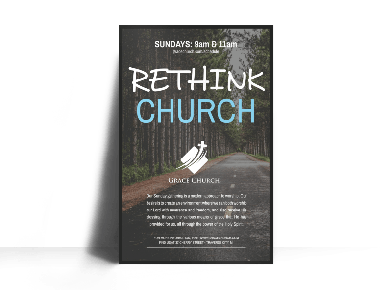 Rethink Church Outreach Poster Template Preview 1