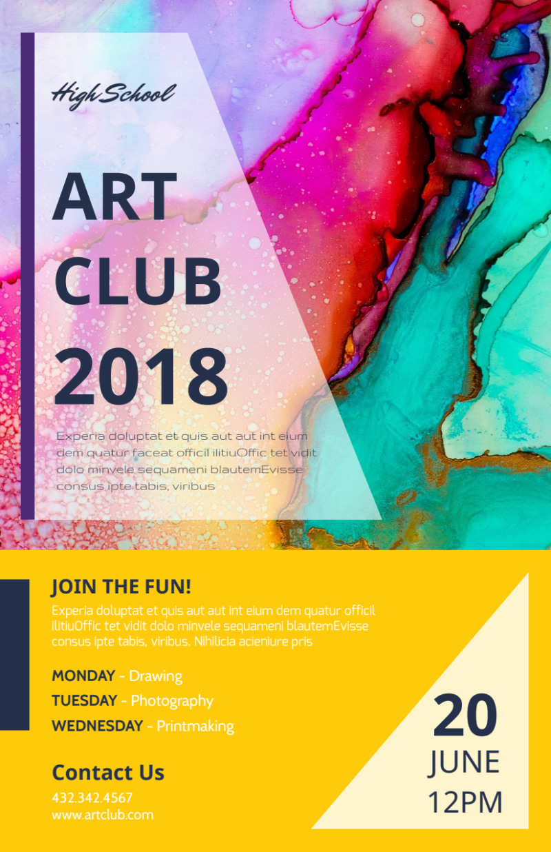 School Art Club Flyer Template Preview 2