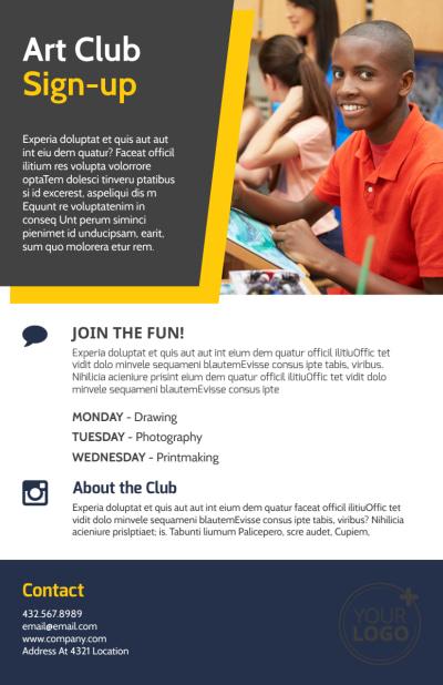 School Art Club Flyer Template Preview 2
