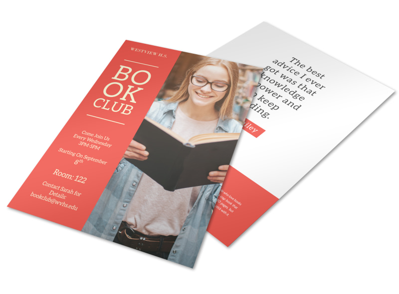 School Book Club Flyer Template Preview 4