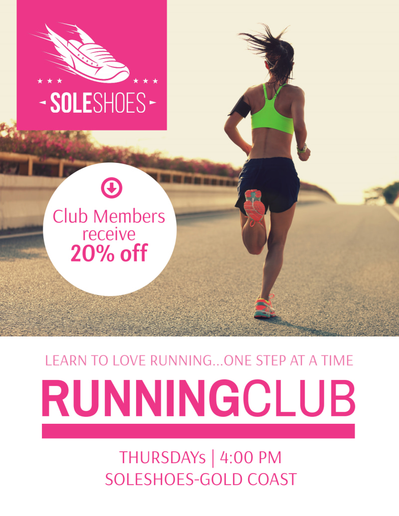 Sole Shoes Running Club Flyer Template Preview 2
