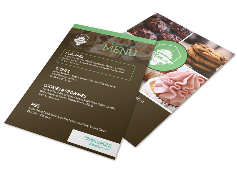 Sweets & Treats Bakery Menu Flyer Template