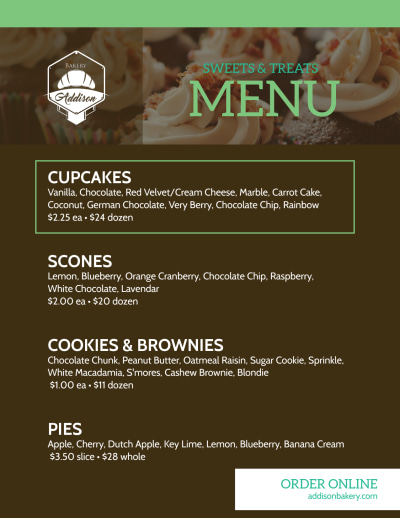 Sweets & Treats Bakery Menu Flyer Template Preview 1