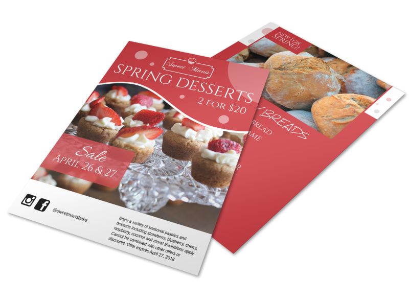 Spring Desserts Seasonal Sale Bakery Flyer Template MyCreativeShop - Bakery brochure template