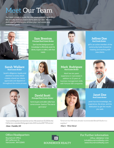 Roundrock Real Estate Meet Our Team Flyer Template Preview 1