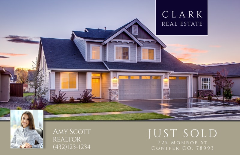 Clark Real Estate Just Sold Postcard Template Preview 2