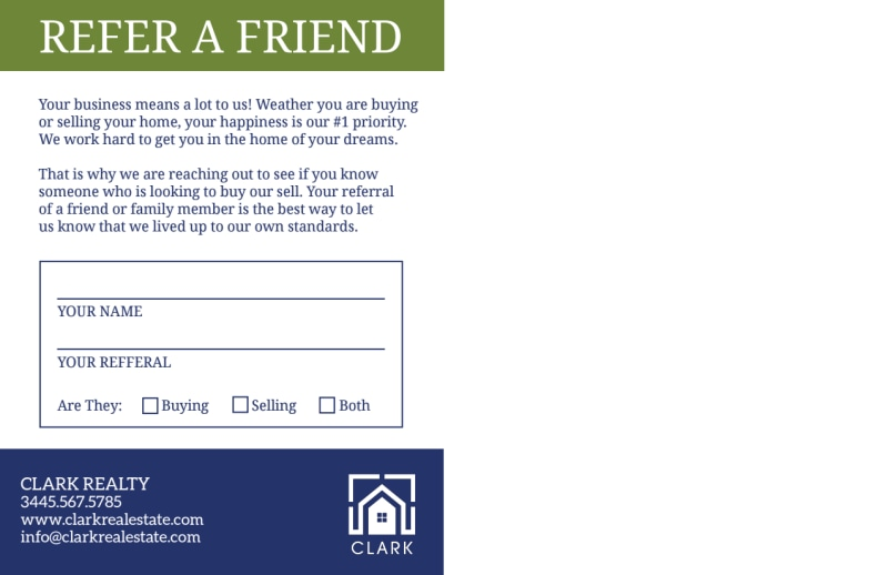 Green Real Estate Referral Postcard Template Preview 3
