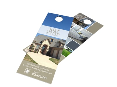 Real Estate Just Listed Door Hanger Template preview