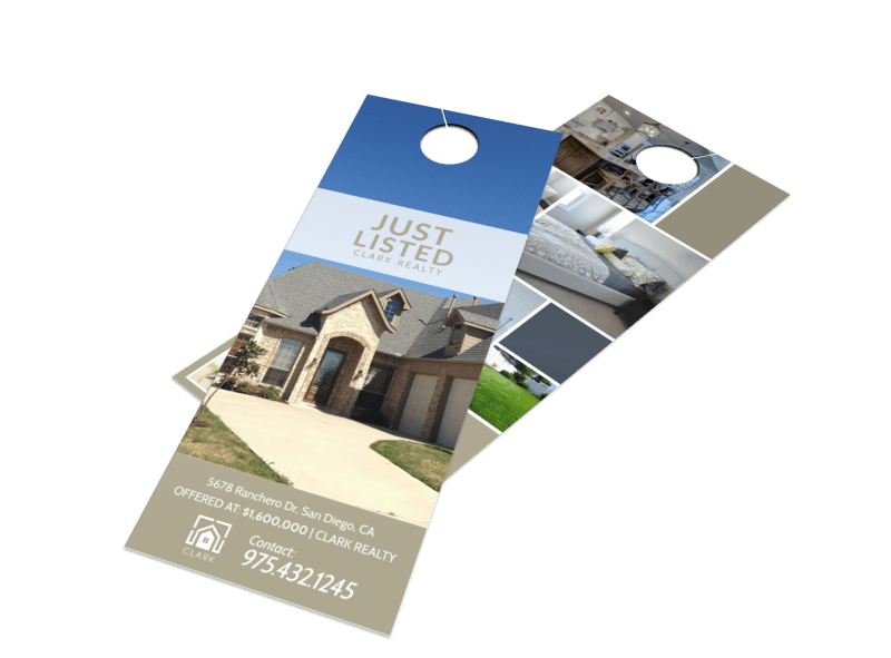 Real Estate Just Listed Door Hanger Template Preview 1