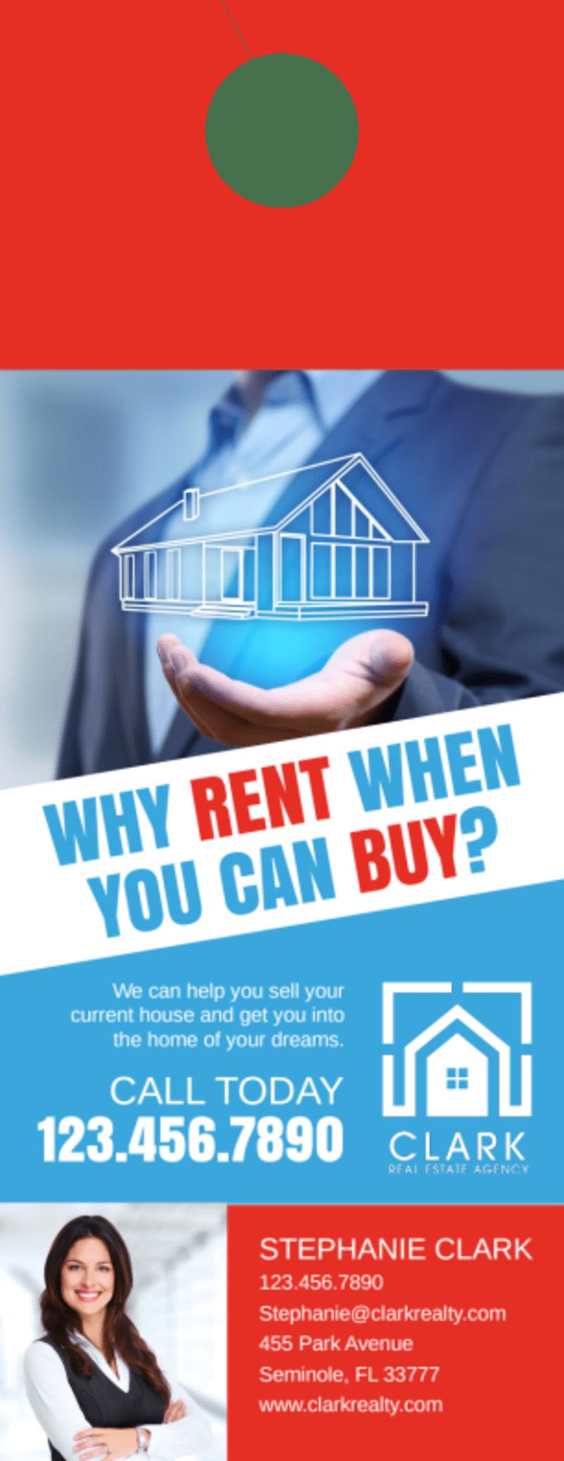 Buy VS Rent Door Hanger Template Preview 2