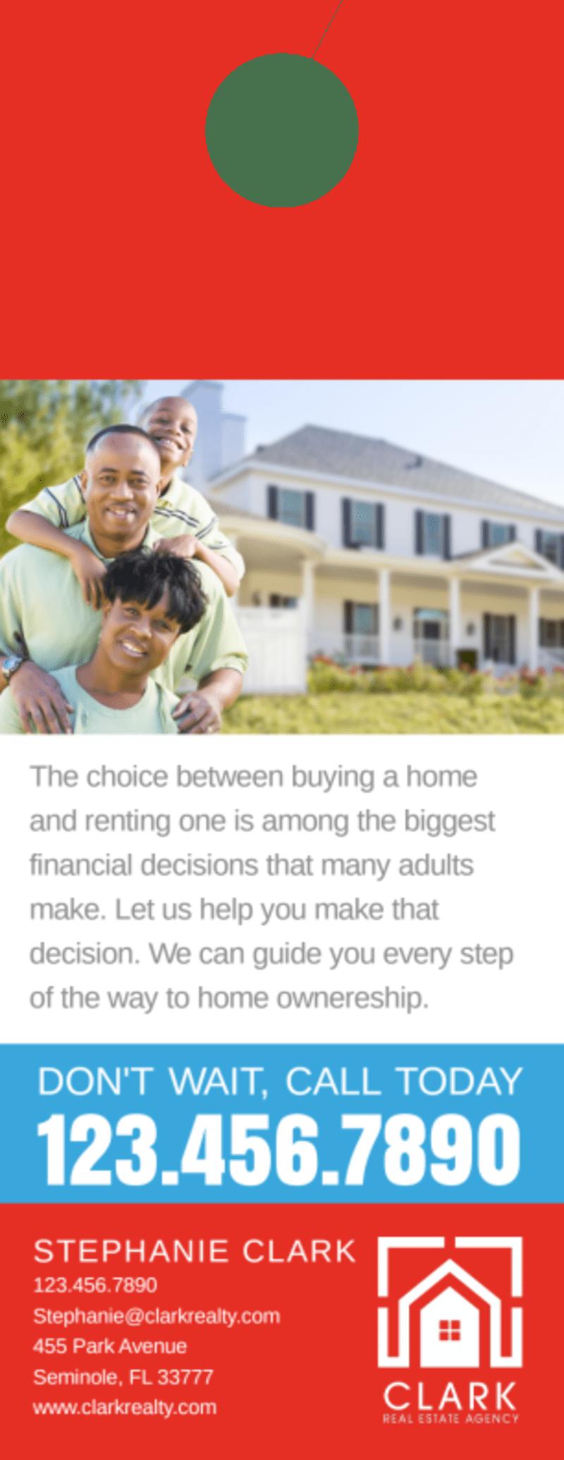 Buy VS Rent Door Hanger Template Preview 3