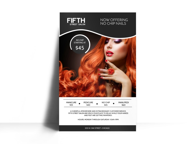 Fifth Street Nail Salon Poster Template