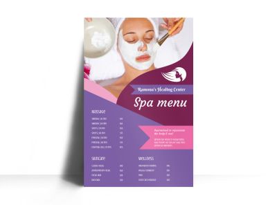 Healing Center Spa Menu Poster Template preview