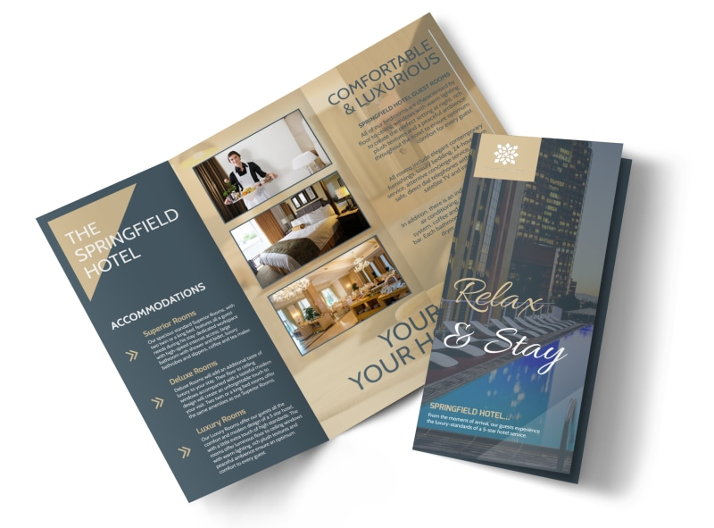 Relax Stay Hotel TriFold Brochure Template MyCreativeShop - Hotel brochure template