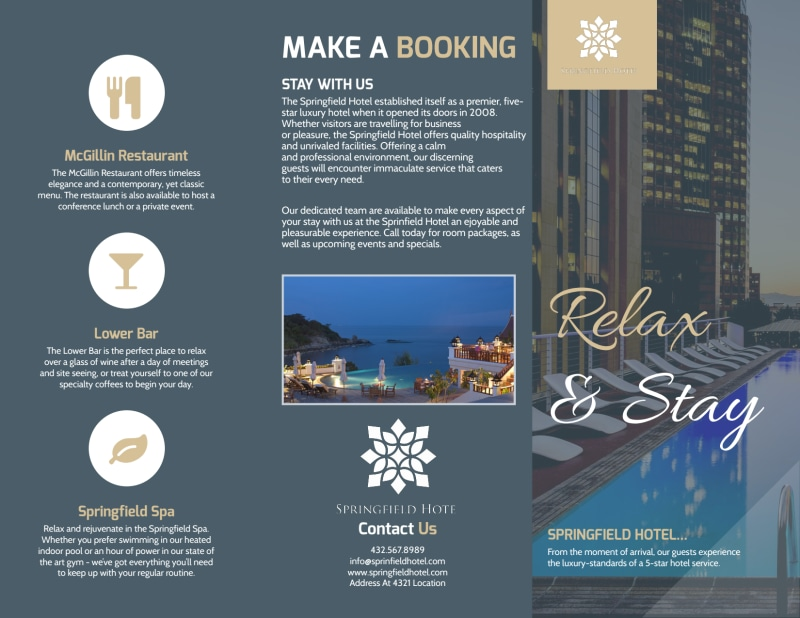 Relax & Stay Hotel Tri-Fold Brochure Template Preview 2