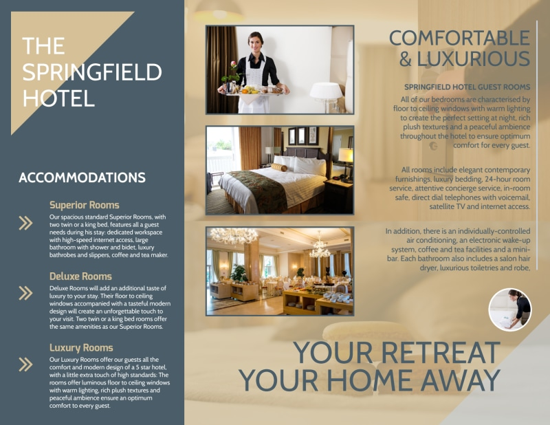 Relax & Stay Hotel Tri-Fold Brochure Template Preview 3