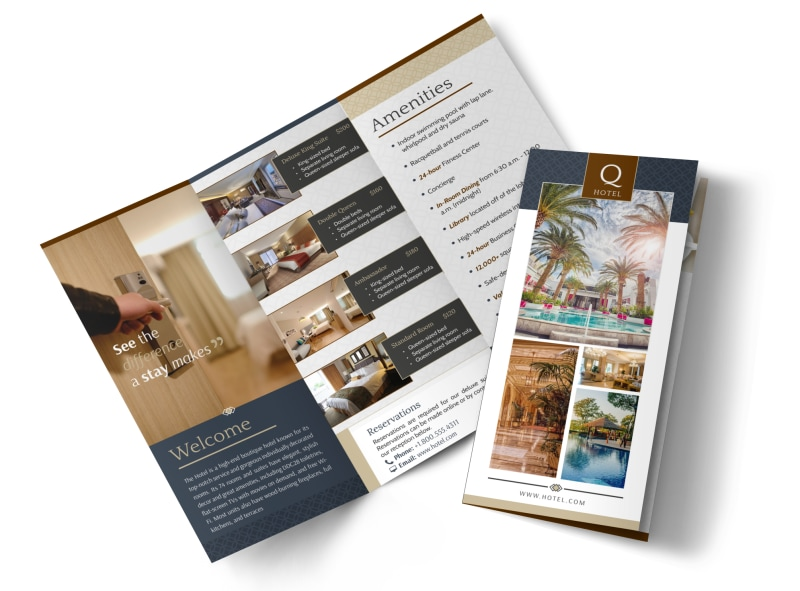 the q hotel tri fold brochure template mycreativeshop