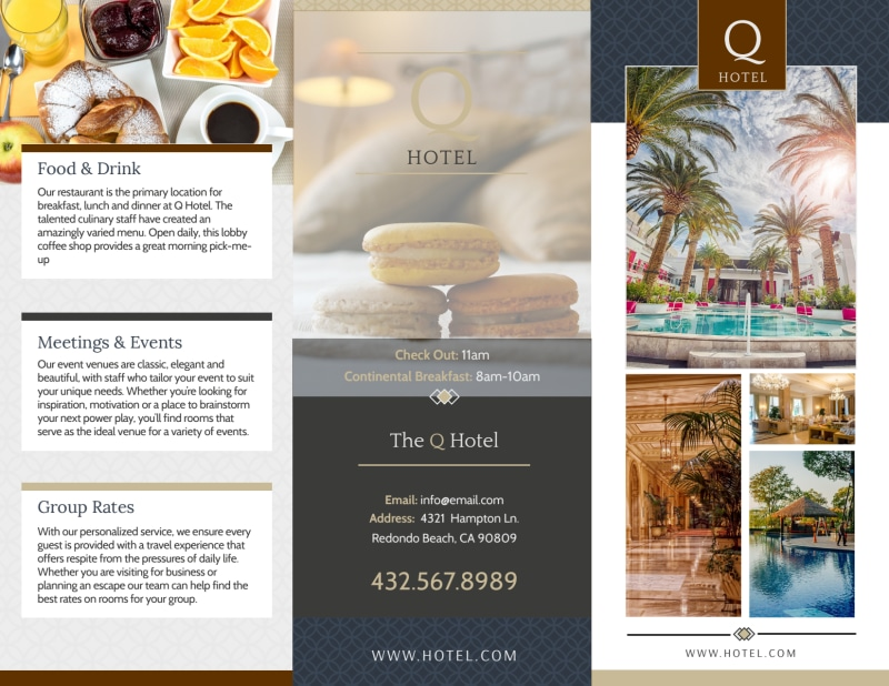 The Q Hotel Tri-Fold Brochure Template Preview 2