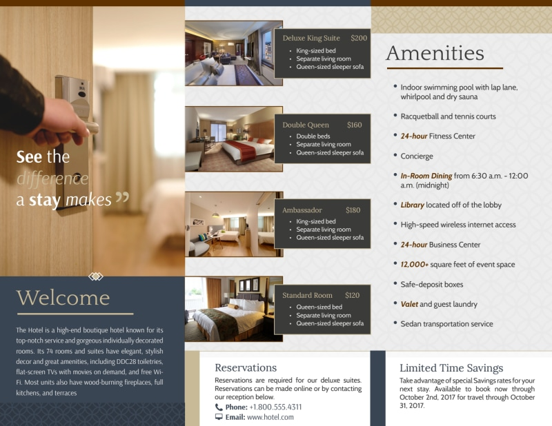 The Q Hotel Tri-Fold Brochure Template Preview 3