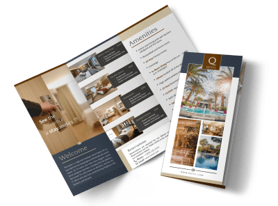 The Q Hotel Tri-Fold Brochure Template Preview 1
