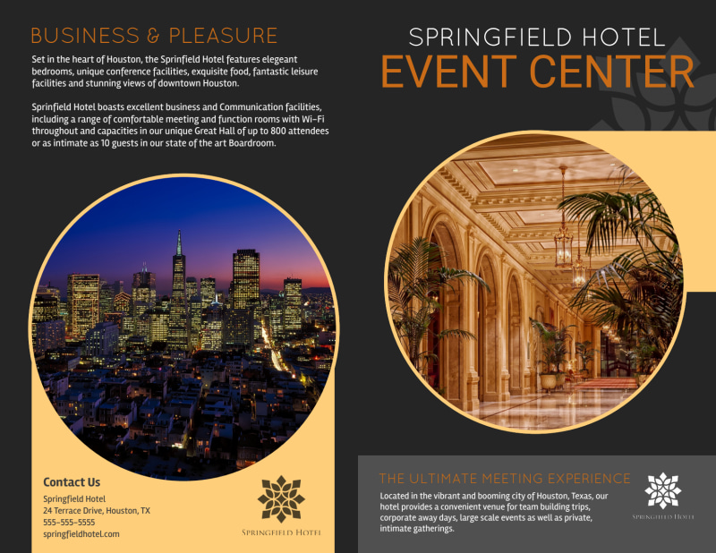 Springfield Hotel Event Center Bi-Fold Brochure Template Preview 2