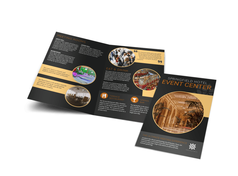 Springfield Hotel Event Center Bi-Fold Brochure Template Preview 1