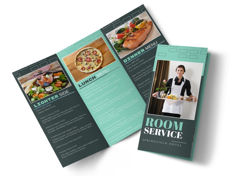Hotel Room Service TriFold Brochure Template  Mycreativeshop
