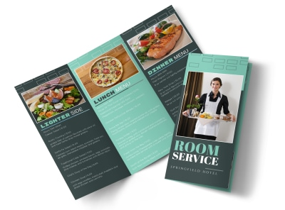 Hotel Room Service Tri-Fold Brochure Template preview