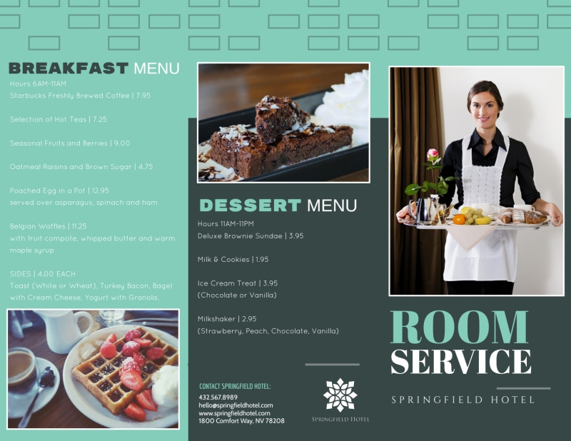 Hotel Room Service Tri-Fold Brochure Template Preview 2