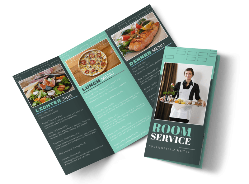 Hotel Room Service Tri-Fold Brochure Template Preview 1
