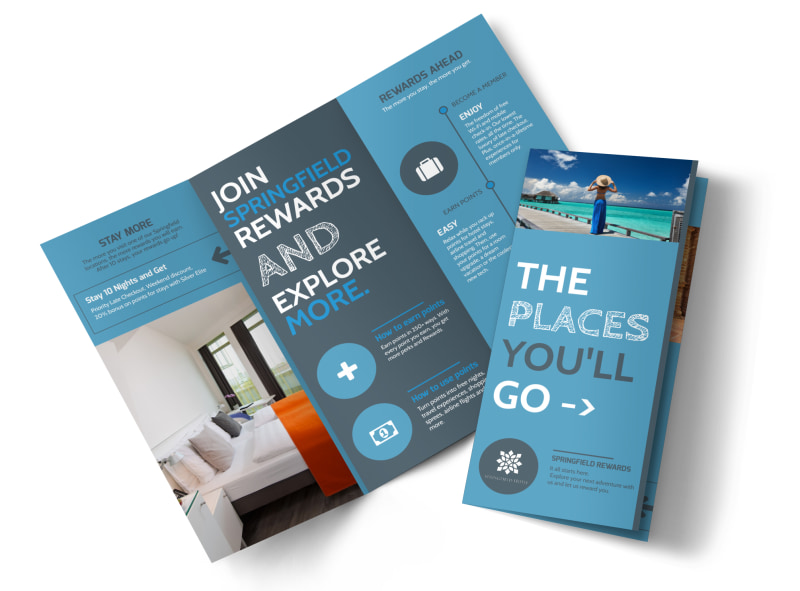 Hotel rewards program tri fold brochure template for Software for designing brochures